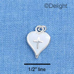 C1514 - White Enamel Heart with Silver Cross - Silver Charm