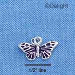 C1635 - Butterfly - Monarch Purple Silver Charm
