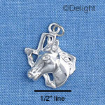 C1651 - Horse Head - Texas Outline - Silver Charm