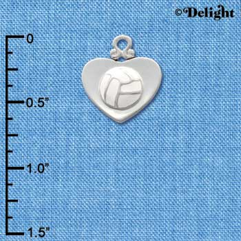 C1907 - Volleyball - Heart - Silver Charm