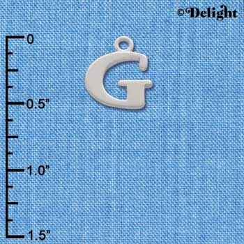C2271 ctlf - Large Silver Initial - G - Silver Charm