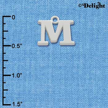C2277 ctlf - Large Silver Initial - M - Silver Charm