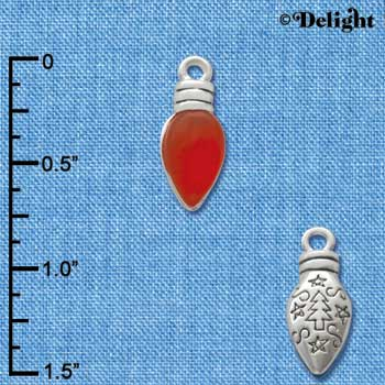 C2951+ - Christmas Lights - Translucent Red Resin - Silver Charm
