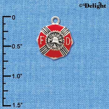 C3560 tlf - Red Enamel Fire Department Medallion - Silver Charm