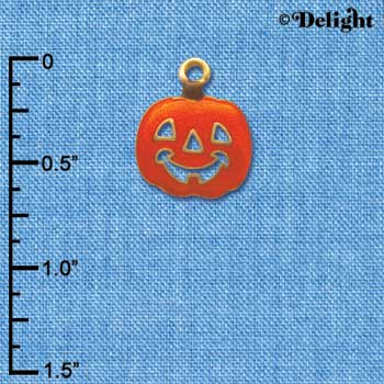 C3929 tlf - Translucent Orange Jack O'Lantern Pumpkin - Gold Charm