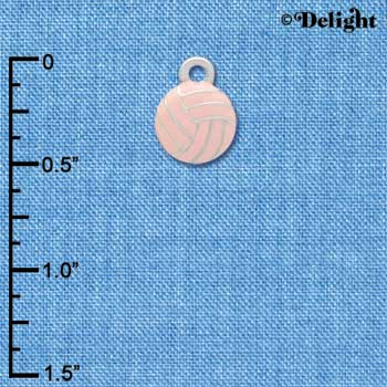 C3952 tlf - Mini 2-D Pink Volleyball - Silver Charm