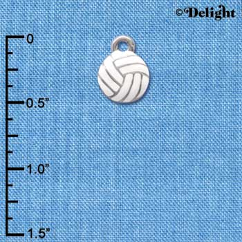 C3972 tlf - Mini Enamel Volleyball - 2 Sided - Im. Rhodium Charm