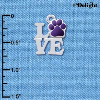 C4052 tlf - Silver Love with Purple Paw - Silver Charm