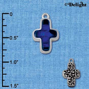 C4075* tlf - Blue Resin Thin Cross in Floral Thin Cross Frame - Silver Plated Charm