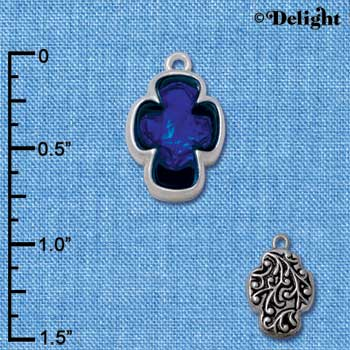 C4079* tlf - Blue Resin Celtic Cross in Floral Celtic Cross Frame - Silver Plated Charm