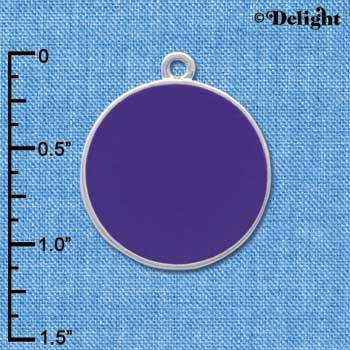 "C4128 tlf - 1"" Purple Enamel Disc - Silver Plated Charm"