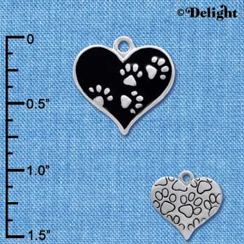 C4144+ tlf - Black Enamel Heart with Silver Paw Prints - Silver Plated Charm
