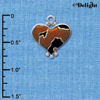 C4148+ tlf - Two Tone Enamel Cheetah Print Heart - 2 Sided - Im. Rhodium & Gold Plated Charm