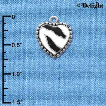 C4151+ tlf - Enamel Zebra Print Heart - 2 Sided - Im. Rhodium Plated Charm