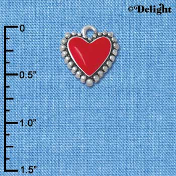 C4775+ tlf - Red Heart with Beaded Border - Silver Plated Charm