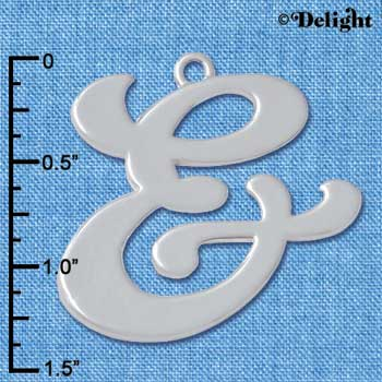 "C5245 tlf - Large Gelato Script & - 1 1/4"" - Silver Plated Charm"