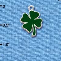 C1017+ tlf - 2 Sided Green Enamel Lucky Four Leaf Clover - Silver Plated Charm