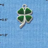C1018* - Clover - Heart - Silver Charm (Left or Right)