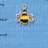 C1024 - Bee - Front Yellow Fancy - Silver Charm