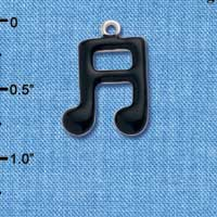 C1039 - Musical Notes - Black - Silver Charm