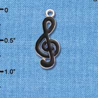 C1040 - Clef Note - Black - Silver Charm