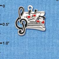 C1042 - Music Sheet - Hearts - Silver Charm