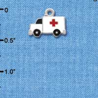 C1059* - Ambulance - Cross - Silver Charm (Left or Right)