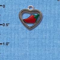 C1064* - Heart - Rope Jalapeno - Silver Charm L&