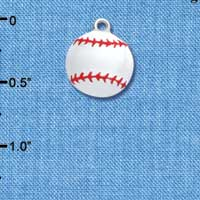 C1067 - White Enamel Baseball Charm with Red Stitching - Silver Charm