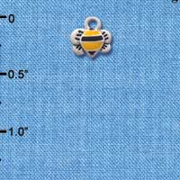 C1222 - Bee - Front Yellow - Silver Charm Mini