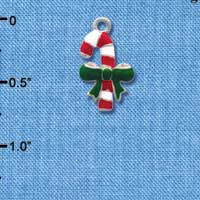 C1228* - Candy Cane - Bow Green - Silver Charm