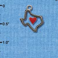 C1293 - Texas - Outline Rope Heart - Silver Charm