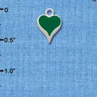 C1330 - Heart - Long Green - Silver Charm Mini