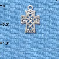 C1356 - Criss Cross Patterned Cross - Silver Charm