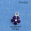 C1376 - Pansy - Stone Purple - Silver Charm Mini