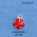 C1378 - Pansy - Stone Red - Silver Charm Mini