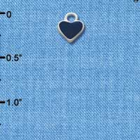 C1394+ - Heart - Blue 2 Sided - Silver Charm Mini