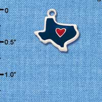 C1427 - Texas - Blue Heart Red - Silver Charm