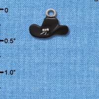 C1430* - Cowboy Hat - Black - Silver Charm (Left or Right)