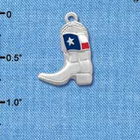 C1455* - Boot - Fancy Texas Flag - Silver Charm