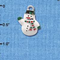 C1617* - Snowman - White - Silver Charm (Left or Right)