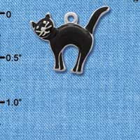 C1788* - Arching Black Cat - Silver Charm