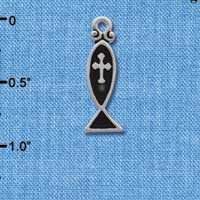 C1867 - Black Enamel Christian Fish with Silver Cross - Silver Charm