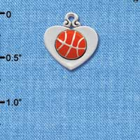 C1906 - Basketball - Heart - Silver Charm