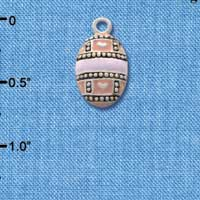 C2189 tlf - Egg Pink & Lavender - Silver Plated Charm