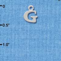 C2297 ctlf - Small Silver Initial - G - Silver Plated Charm