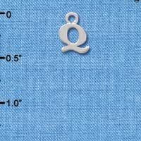 C2307 ctlf - Small Silver Initial - Q - Silver Charm