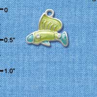 C2432* - Tropical Fish - Lime Green with Blue Tail -Silver Charm (Left or Right)