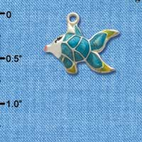 C2433* - Tropical Fish - Blue with Yellow Fins - Silver Charm (Left or Right)