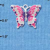 C2440 - Butterfly - Hot Pink & Purple - Silver Charm